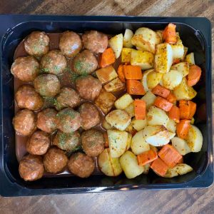 Swedish meatballs with roasted potatoes and carrots